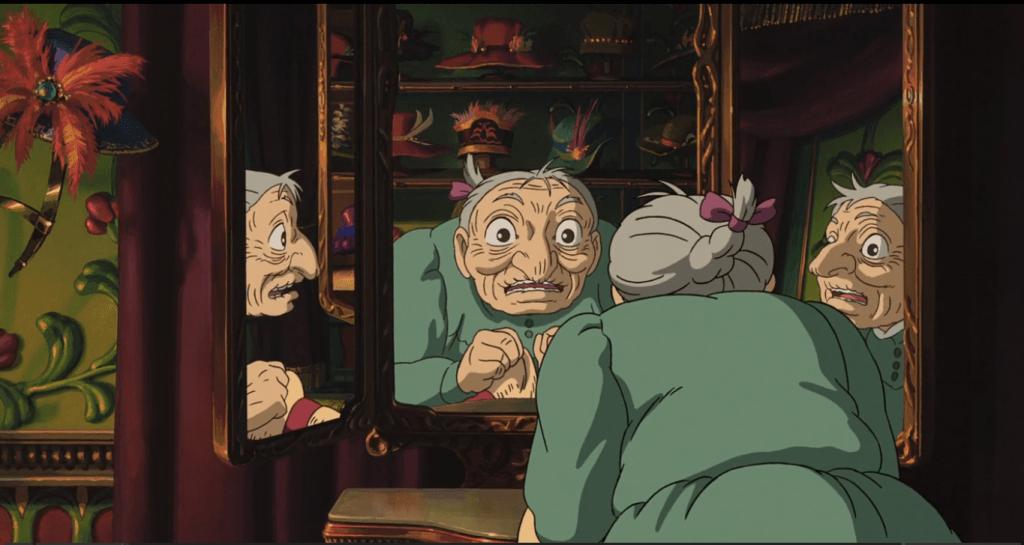 Софи после визита Ведьмы Пустоши превращается в старуху